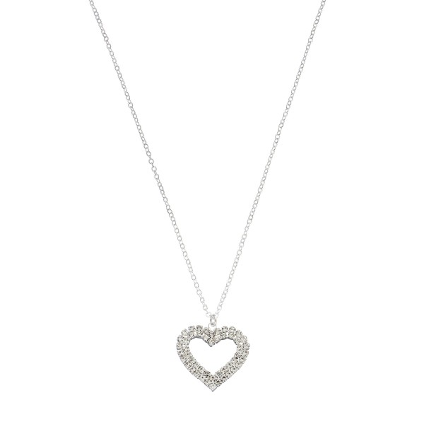 "Rhinestone Heart Pendant Necklace.  - Pendant 1""  - Approximately 18"" in Length - 3"" Adjustable Extender"