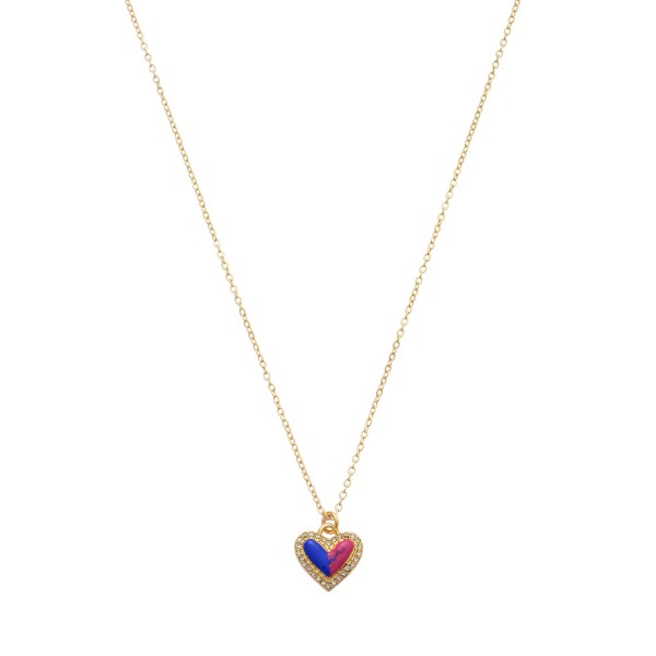 "Rhinestone Epoxy Heart Pendant Necklace.  - Pendant .5""  - Approximately 16"" in Length  - 3"" Adjustable Extender"