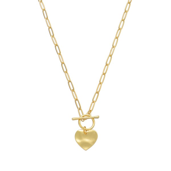 "Hammered Heart Toggle Bar Necklace in Gold.  - Pendant 1""  - Front Toggle Bar Closure - Approximately 18"" in Length"