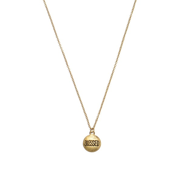 """Inspirational Blessed Coin Necklace.  - Pendant 10mm  - Approximately 18"""" in Length - 2"""" Adjustable Extender"""