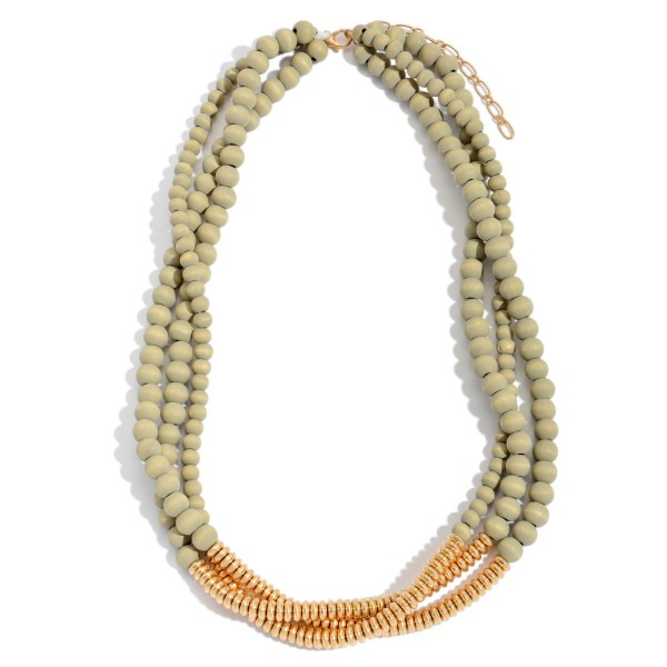 """Wood Beaded Layered Statement Necklace Featuring Gold Beaded Details.  - Approximately 18"""" in Length - 3"""" Adjustable Extender"""