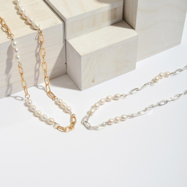 """Long Pearl Beaded Chain Link Necklace.  - Approximately 30"""" in Length - 3"""" Adjustable Extender"""