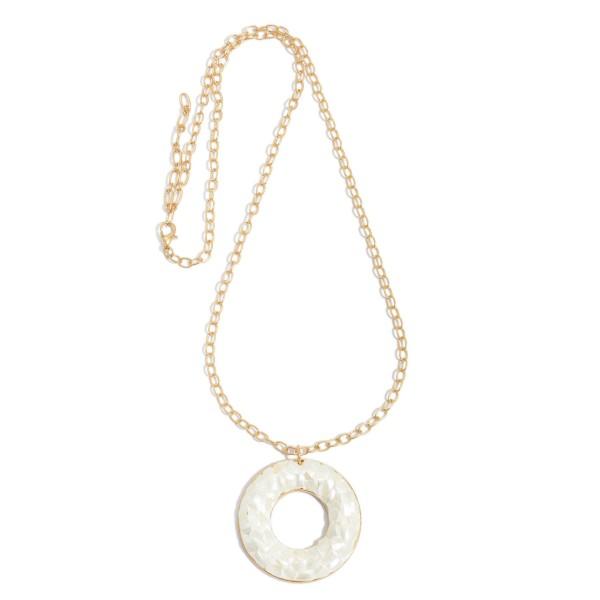 "Ivory Peral RIng Necklace in Gold.  - Pendant 1.5"" in Diameter - Approximately 26"" in Length - 3"" Adjustable Extender"