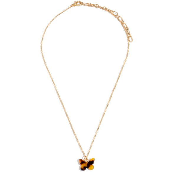 "Acrylic Butterfly Necklace in Gold.  - Pendant .75""  - Approximately 16"" in Length - 3"" Adjustable Extender"