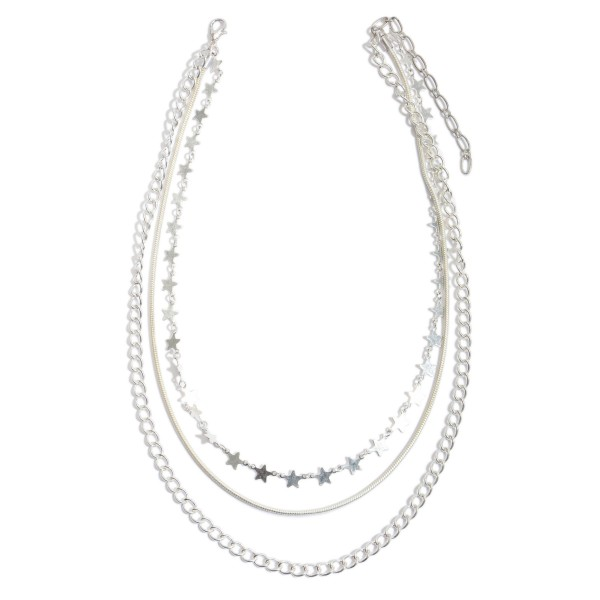 """Chain Link Layered Star Necklace.  - Approximately 16"""" in Length - 3"""" Adjustable Extender"""