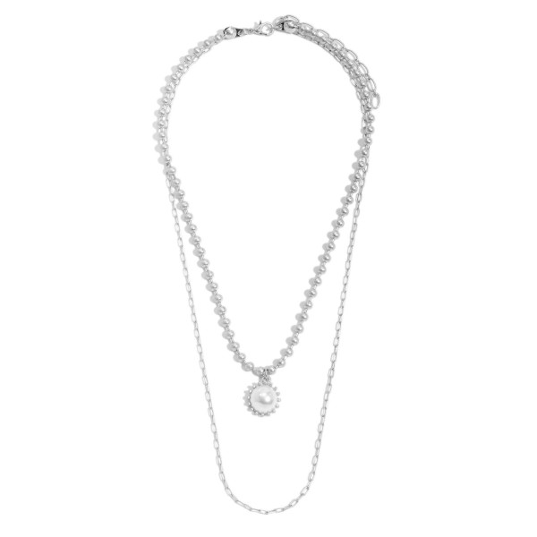 """Ball Chain Link Layered Pearl Necklace.  - Pendant .5""""  - Approximately 18"""" in Length - 3"""" Adjustable Extender"""