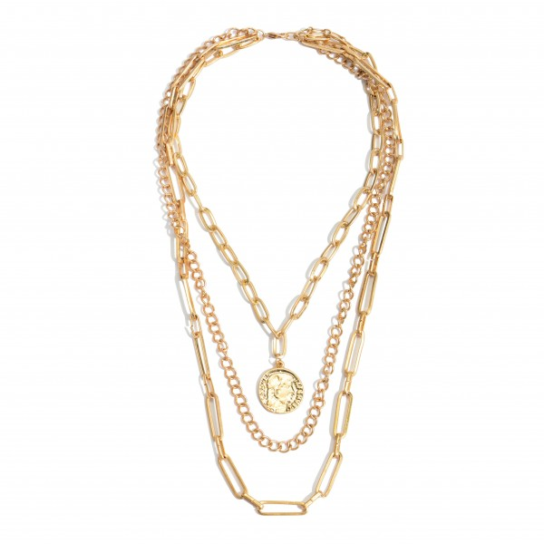 "Metal Chain Link Layered Coin Necklace.  - Coin approximately .75""  - Approximately 18"" in Length  - 3"" Adjustable Extender"