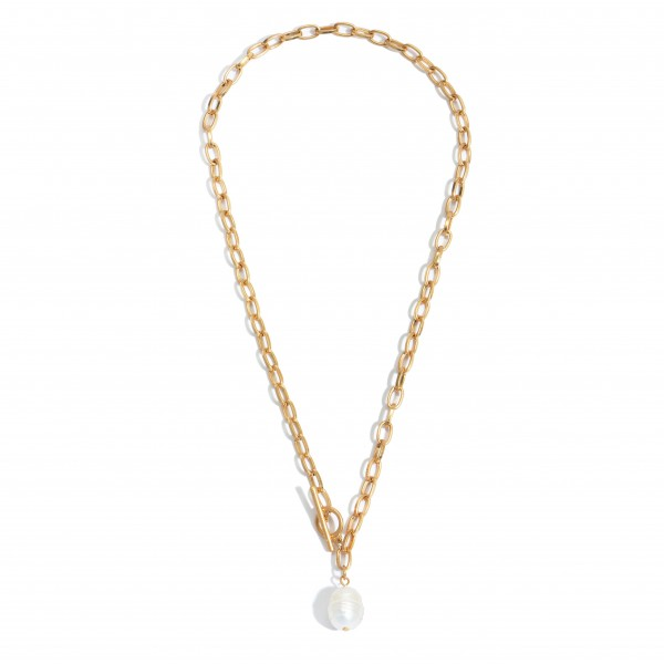 "Chain Link Toggle Bar Pearl Necklace.  - Pearl 15mm in Size - Approximately 18"" in Length"