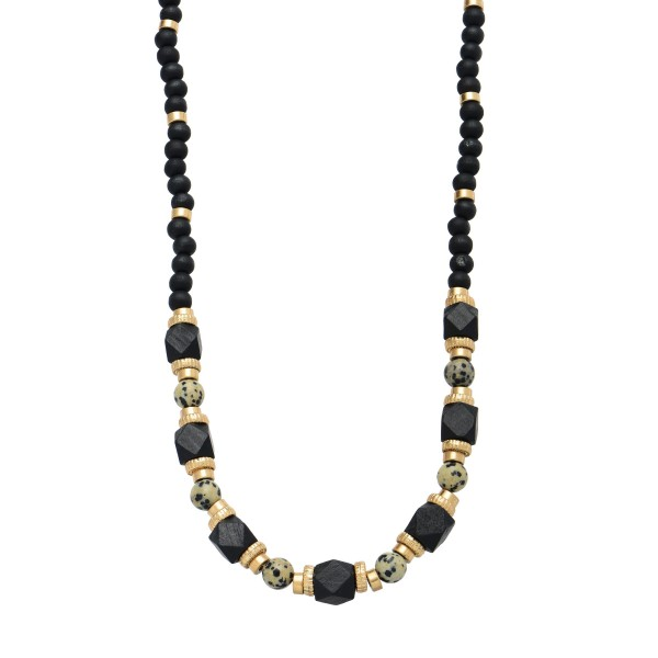 "Long Wood Beaded Semi Precious Statement Necklace in Gold.  - Approximately 30"" in Length  - 3"" Adjustable Extender"