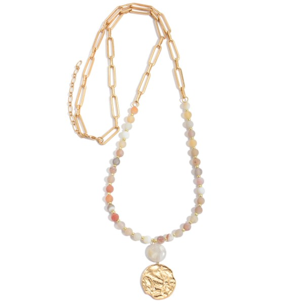 """Long Semi Precious Beaded Coin Necklace.  - Pendant 1.25""""  - Approximately 34"""" in Length"""