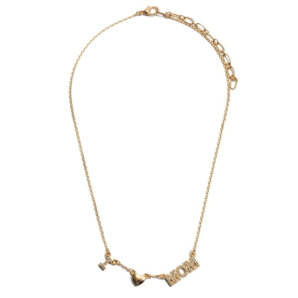 "Rhinestone I Love Mom Necklace in Gold.  - Approximately 16"" in Length - 2"" Adjustable Extender"