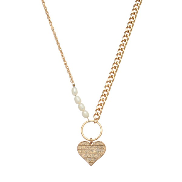 "Two Chain Pearl Beaded Necklace in Gold Featuring Epoxy Glitter Heart Ring Pendant.  - Heart Pendant 1"" in Size - Approximately 18"" in Length - 3"" Adjustable Extender"