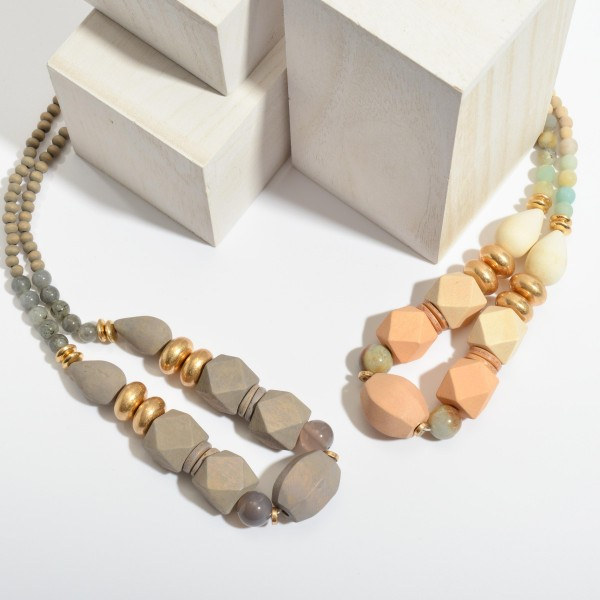 """Geometric Wood Beaded Statement Necklace Featuring Semi Precious Accents.  - Bead Size Up To 24mm  - Approximately 22"""" in Length - 3"""" Adjustable Extender"""