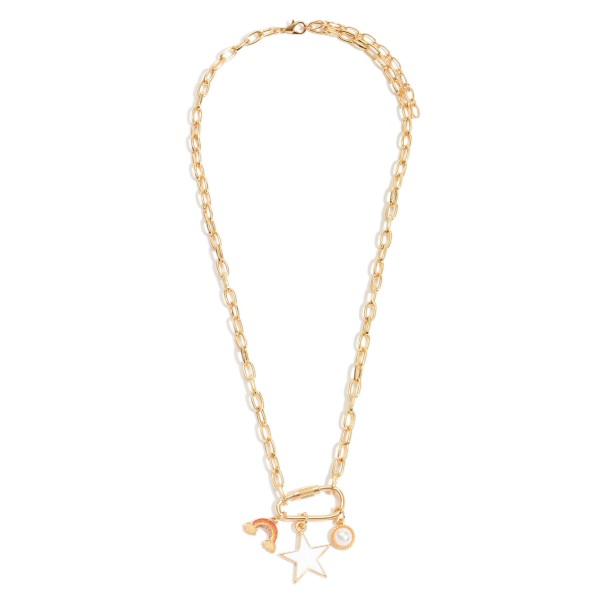 """Chain Link Carabiner Charm Necklace Featuring Epoxy & Pearl Details.  - Pendant 1""""  - Charms: Star, Rainbow & Pearl  - Approximately 20"""" in Length - 3"""" Adjustable Extender"""