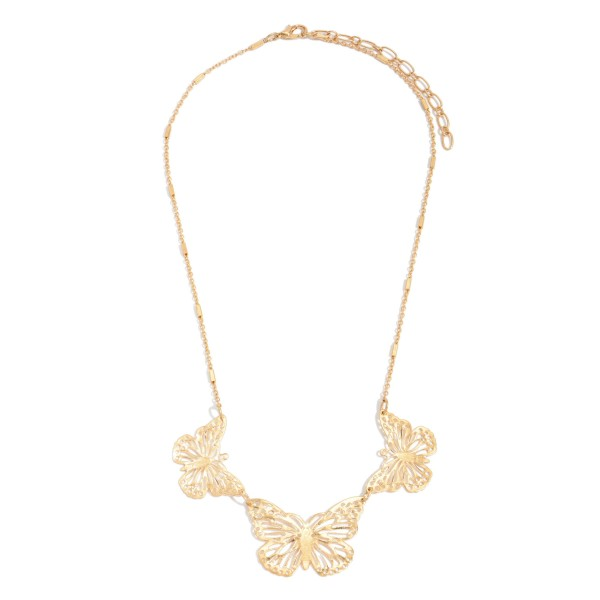 "Filigree Butterfly Necklace.  - Butterfly Pendants 1"" - 1.5"" in Size - Approximately 16"" in Length  - 3"" Adjustable Extender"