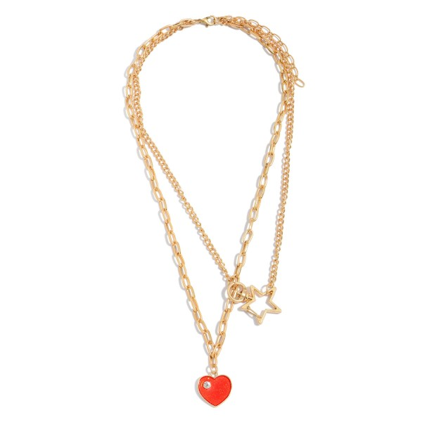 "Chain Link Layered Heart Pendant Necklace Featuring a Star Accent.  - Pendant .75""  - Approximately 20"" L  - 3"" Adjustable Extender"