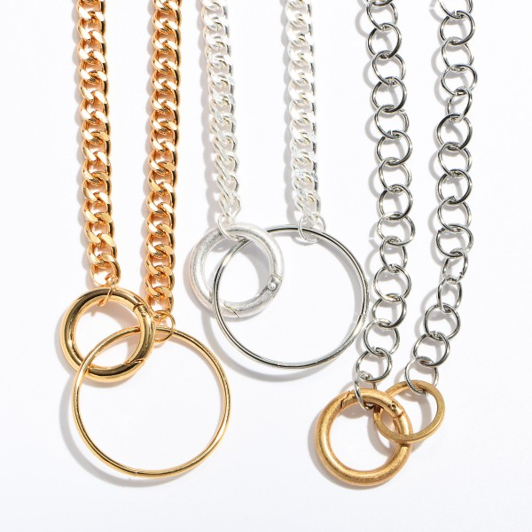 """Curb Chain Ring Necklace.  - Ring approximately 1.5"""" in Diameter - Approximately 18"""" in Length - 3"""" Adjustable Extender"""
