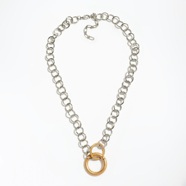 "Two Tone Metal Circle Link Ring Necklace.  - Ring approximately 1"" in Diameter - Approximately 18"" in Length - 3"" Adjustable Extender"