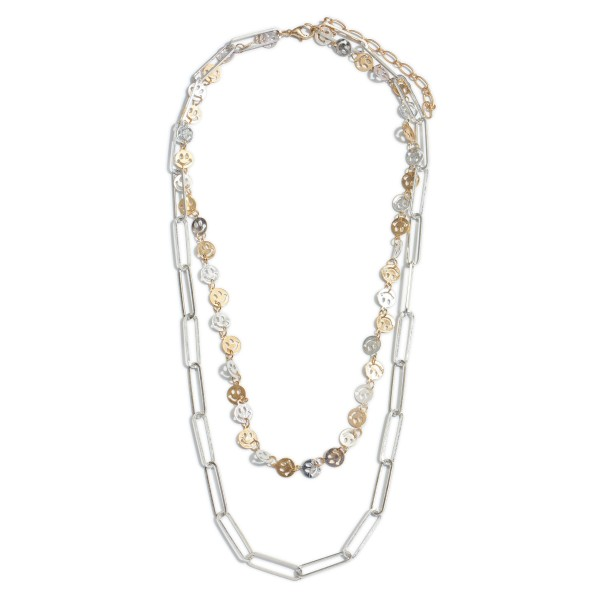 """Two Tone Smiley Chain Link Layered Necklace.  - Approximately 20"""" in Length - 2"""" Adjustable Extender"""