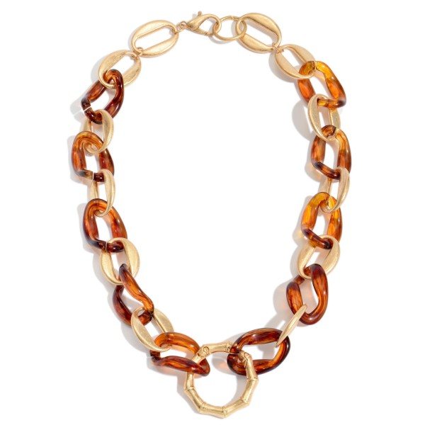 """Acrylic Chain Link Statement Necklace Featuring a Bamboo Ring Pendant.  - Ring Pendant 1.5""""  - Approximately 18"""" in Length"""