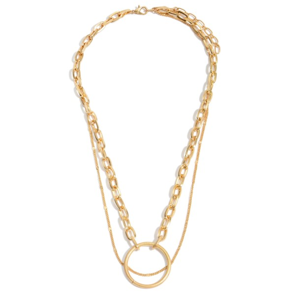 "Chain Link Layered Ring Pendant Necklace.  - Pendant 1.25""  - Approximately 16"" in Length - 3"" Adjustable Extender"