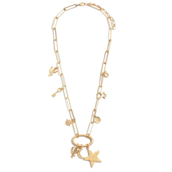 """Chain Link Charm Necklace.  - Approximately 22"""" in Length - 2"""" Adjustable Extender"""