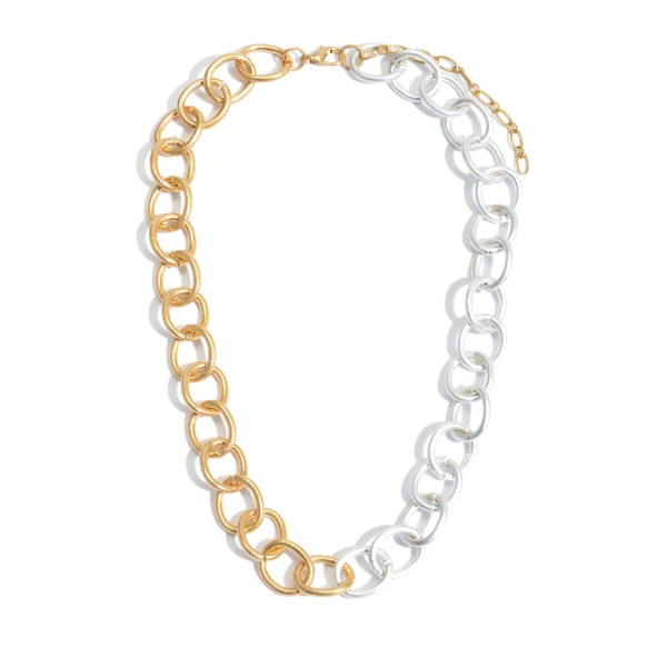 "Two Tone Metal Circle Chain Link Necklace.  - Approximately 18"" in Length - 3"" Adjustable Extender"