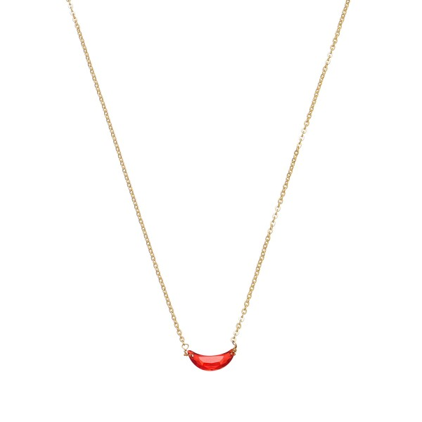 "Cubic Zirconia Necklace in Gold.  - Pendant .5"" - Approximately 18"" in Length - 3.5"" Adjustable Extender"