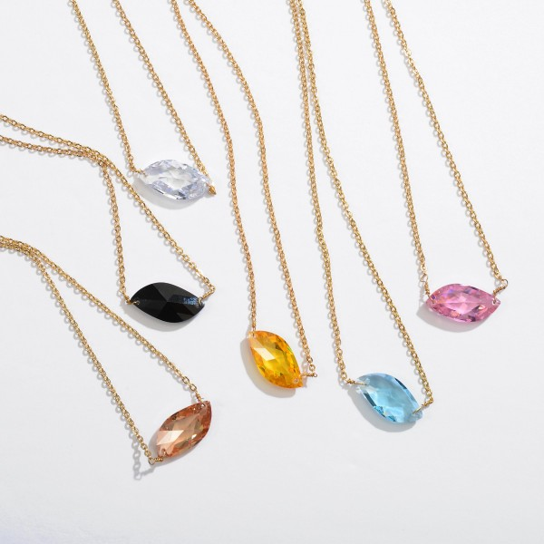 """Cubic Zirconia Pendant Necklace in Gold.  - Pendant .75""""  - Approximately 18"""" in Length - 3.5"""" Adjustable Extender"""