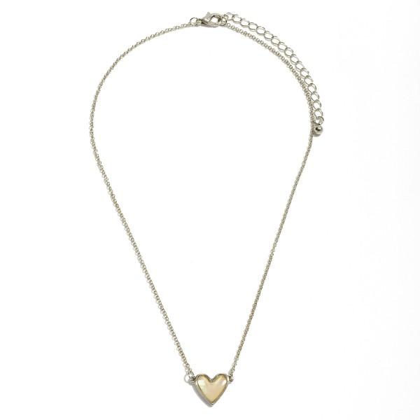 Wholesale abalone Heart Necklace Rhodium Pendant Adjustable Extender