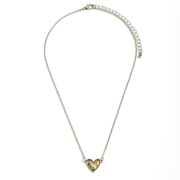 "Mother of Pearl Heart Necklace in Rhodium.  - Pendant .5""  - Approximately 16"" in Length - 3"" Adjustable Extender"