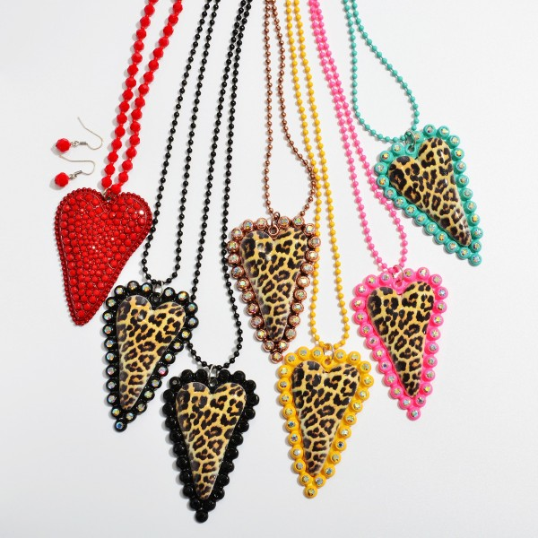 "Beaded Rhinestone Heart Statement Necklace.  - Heart Pendant 3""  - Approximately 40"" in Length - 3"" Adjustable Extender"