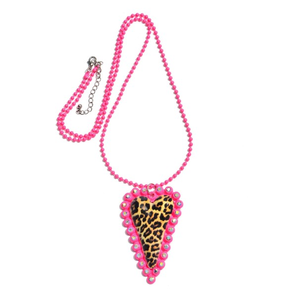 "Beaded Rhinestone Leopard Print Heart Statement Necklace.  - Heart Pendant 3""  - Approximately 36"" in Length - 3"" Adjustable Extender"