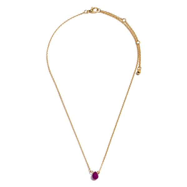 "Dainty Semi Precious Teardrop Necklace in Gold.  - Teardrop Pendant 6mm in Size - Approximately 16"" in Length - 3.5"" Adjustable Extender"