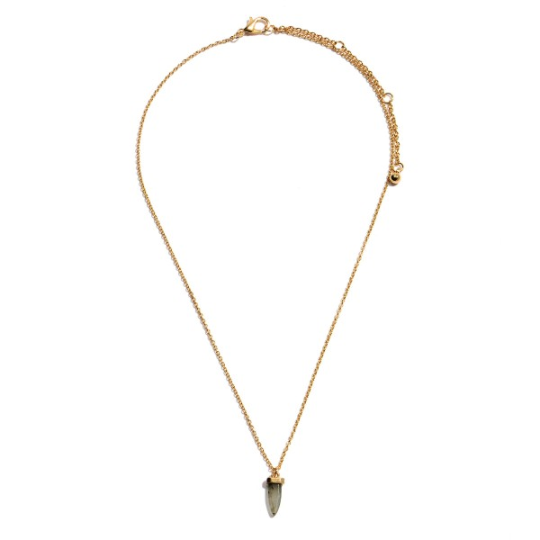 "Dainty Semi Precious Stone Horn Necklace in Gold.  - Pendant 12mm in Size - Approximately 16"" in Length - 3.5"" Adjustable Extender"