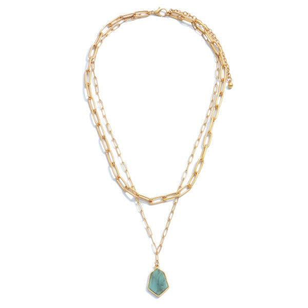 "Chain Link Layered Semi Precious Necklace in Gold.  - Pendant .75""  - Approximately 16"" in Length - 3"" Adjustable Extender"