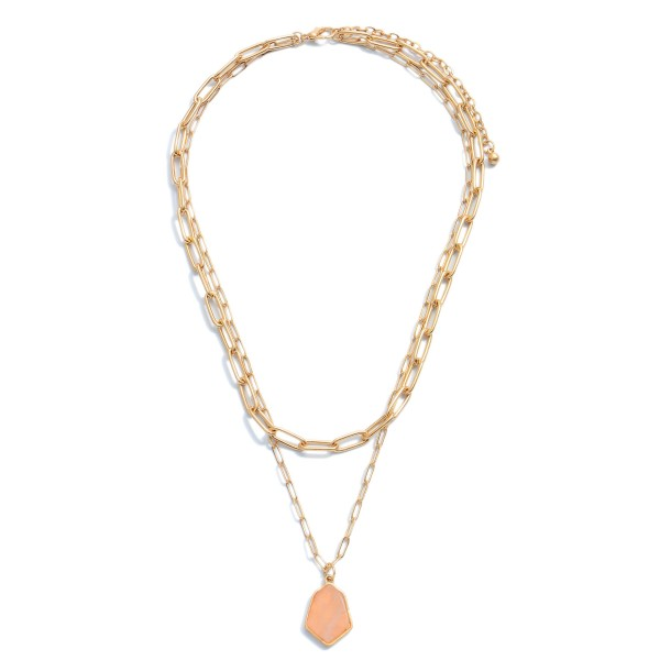 """Chain Link Layered Semi Precious Necklace in Gold.  - Pendant .75""""  - Approximately 16"""" in Length - 3"""" Adjustable Extender"""