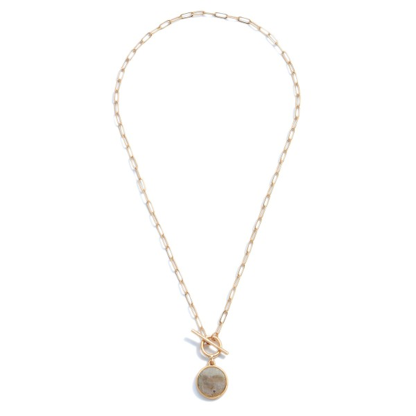 """Semi Precious Toggle Bar Necklace.  - Pendant .5""""  - Approximately 16"""" in Length"""