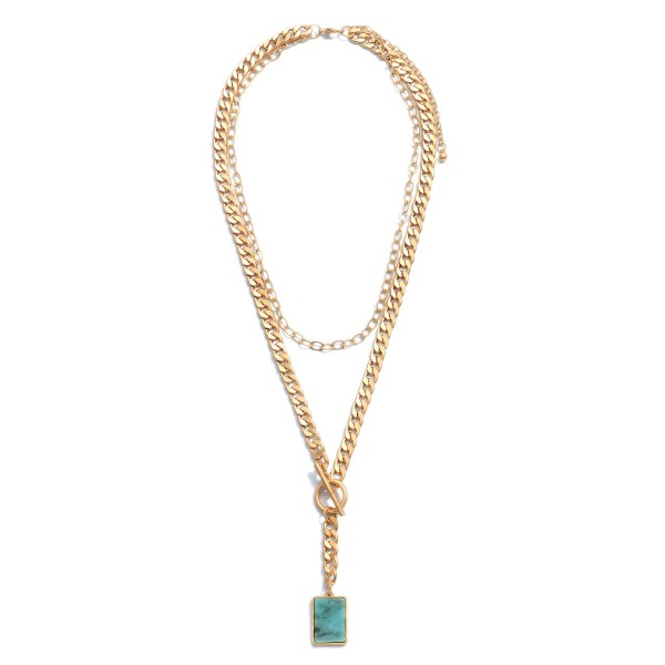"Curb Chain Layered Semi Precious Toggle Bar Necklace.  - Pendant 1""  - Approximately 22"" in Length - 3"" Adjustable Extender"