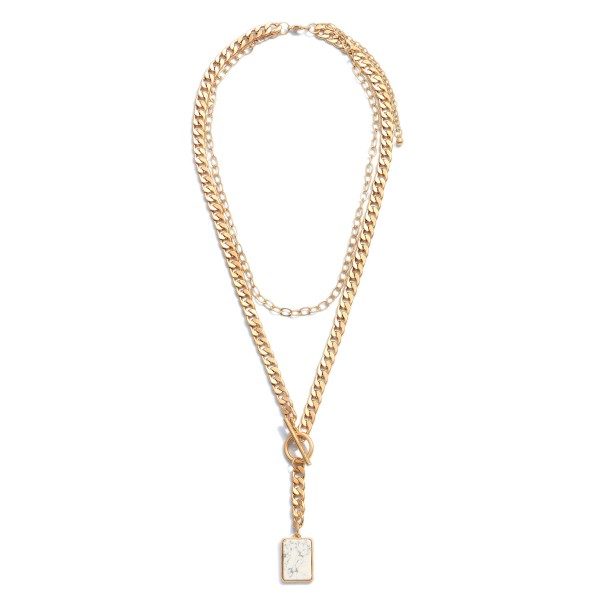 """Curb Chain Layered Semi Precious Toggle Bar Necklace.  - Pendant 1""""  - Approximately 22"""" in Length - 3"""" Adjustable Extender"""