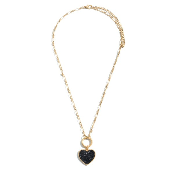 "Druzy Heart Pendant Necklace in Gold.  - Pendant 1""  - Approximately 18"" L - 3"" Adjustable Extender"
