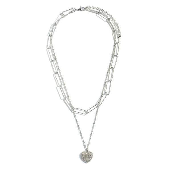 "Paperclip Layered Pave Heart Necklace.  - Pendant .75""  - Approximately 18"" L - 3"" Adjustable Extender"