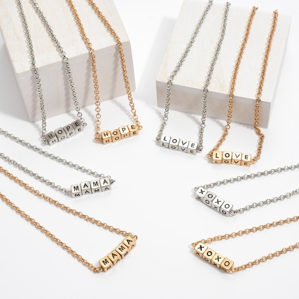 """Mama Block Letter Necklace.  - Approximately 16"""" in Length - 3"""" Adjustable Extender"""