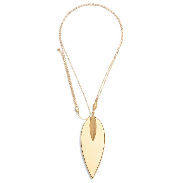 """Long Necklace Featuring a Wooden Leaf Pendant in Gold.  - Pendant 4""""  - Approximately 38"""" in Length - 3"""" Adjustable Extender"""