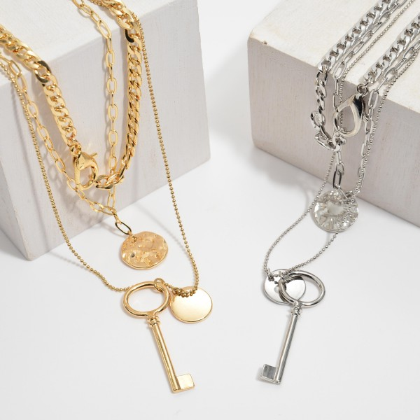 """Chain Link Layered Coin Charm Pendant Necklace.  - Pendant 1.75""""  - Approximately 20"""" in Length - 3"""" Adjustable Extender"""