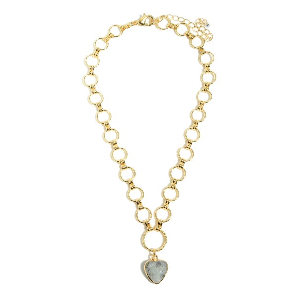 "Circle Chain Link Semi Precious Heart Pendant Necklace in Gold.  - Pendant .5""  - Approximately 14"" in Length - 3"" Adjustable Extender"