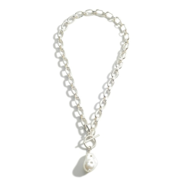 "Metal Chain Necklace Featuring Toggle Clasp and Faux Pearl Accent with Rhinestone Details.   - Approximately 18"" in Length"