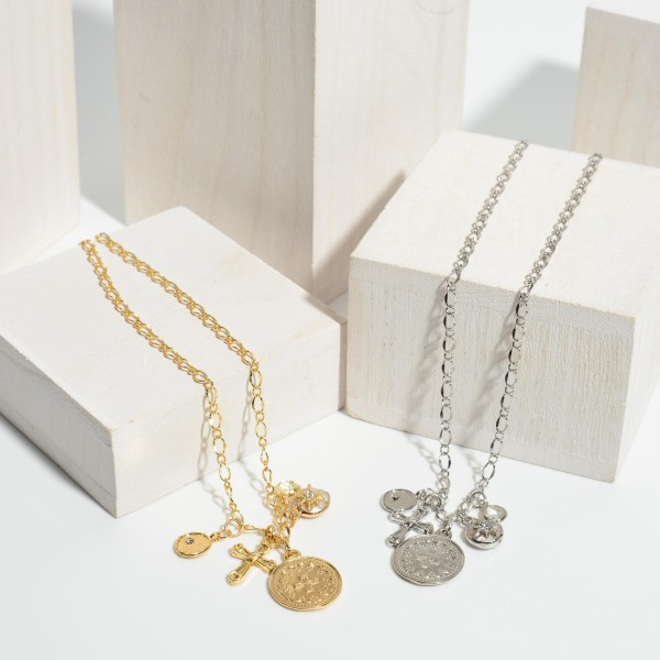 """Coin Cross Charm Pendant Necklace in Gold.  - Pendant's approximately 5mm - .5""""  - Approximately 16"""" in Length - 3"""" Adjustable Extender"""