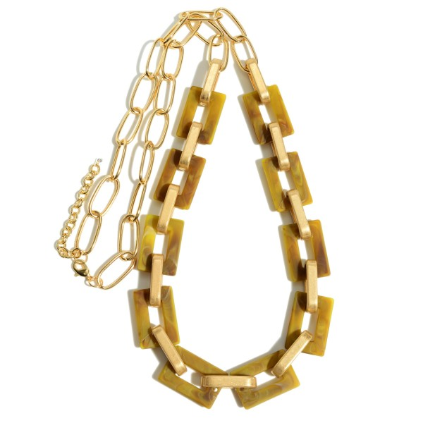 "Acrylic Chain Link Statement Necklace.  - Approximately 34"" in Length - 3"" Adjustable Extender"