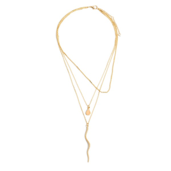 """Layered Snake Pendant Necklace Featuring a Teardrop Accent.  - Pendant 2.25"""" - Approximately 22"""" in Length - 3"""" Adjustable Extender"""